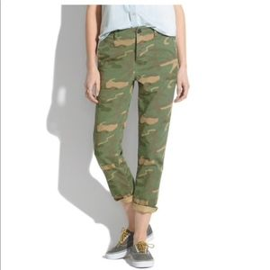Madewell Cropped Camo Rivington Trousers Sz:25